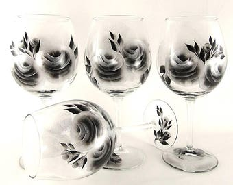 Hand-Painted Wine Glass Set of 4 - Modern Silver and Black Roses - 25th Anniversary Gifts 35th Ruby Anniversary 50th Anniversary Gift