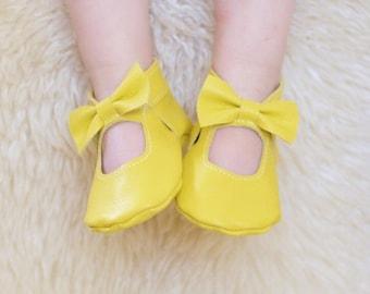 Lemon Yellow Mary Jane Baby Moccs  Moccasins Baby Shoes