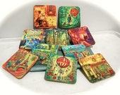 2 Whimsical Coasters - Fine Art Paintings, Little Girl, Cool Art, Colorful Decor, Wall Art, Table Decor, Art Gift,  Vintage Pics, Art Lover