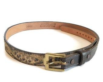 Vintage Justin Leather Belt / Cowhide Snakeskin Belt / Size 32