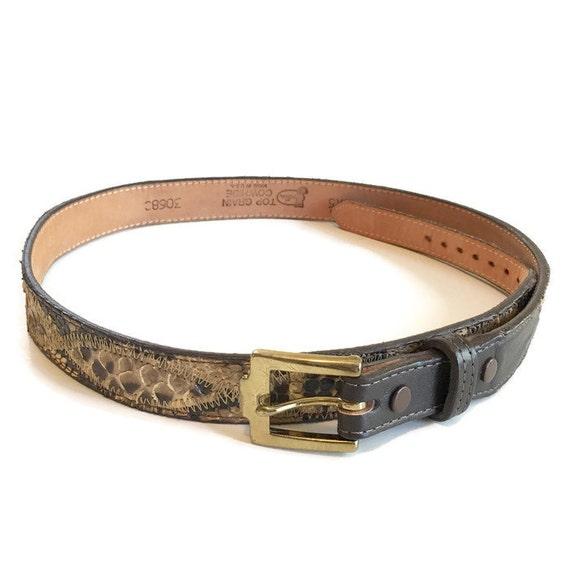 vintage justin leather belt cowhide snakeskin belt size 32