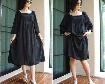 Boho Oversized Fit Raglan Sleeve Black Cotton Dress Tunic With Handed Embroidery