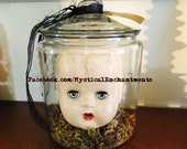 X Large mIsFiTs Creepy Vintage Doll head in a glass Apothecary Jar