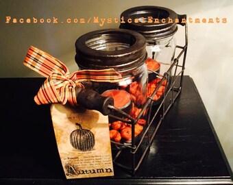 Autumn Mason Jar Tea light holder with with rustic metal basket