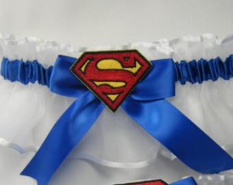 Superman garter wedding garters prom garter royal blue and white garter keep
