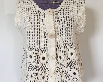 Vintage 1970s Grandma Crochet Knit Boho Sweater Vest - Medium