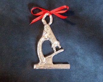 Pewter Microscope Ornament