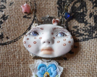 Wearable art mixed media face pendant necklace vintage embroidered lace shabby chic boho one of a kind cottage chic whimsical