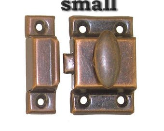 antique copper finish stamped metal cupboard latch, 2 sizes available, NEW