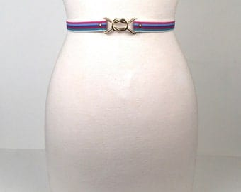 Vintage 1970s Multi Colored Stripe Stretch Belt