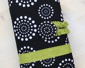 Black Dots & Chartreuse Green Crochet Hook Organizer - or Any Accent Color:  Hot Pink  Aqua Yellow Purple Green Pink Teal Blue