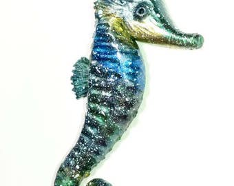 CLEARANCE Galaxy seahorse pendant necklace. Sea creature jewelry