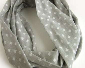 Gray and White Cotton Loop Scarf - Pure Cotton Infinity Scarves - Light Summer Cotton Scarf