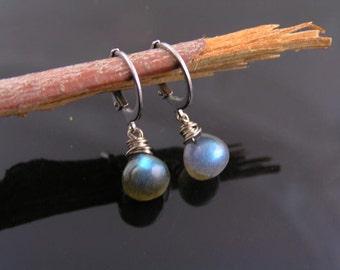 Labradorite Hoop Earrings, Labradorite Earrings, Labradorite Jewelry, Gem Earrings, Gem Jewelry, Gift Idea, Lever Back Earrings, Gem Jewelry