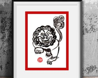 Fu Dog Chinese New Year of the Dog, Original Zen Sumi e ink Painting for zen decor, japan tea scroll, childrens nursery room art, baby gift