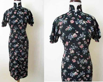 Lovely 1940's Rayon Novelty Print Asian Style Dress Chic Rockabilly Pinup Girl Suzy Wong Dress Hourglass Size Small /Medium