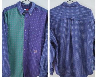 Vintage TOMMY HILFIGER Color Block Three Tone Pattern 90s Button Up Shirt