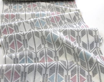Vintage Japanese Kimono Fabric retro chevron arrowhead southwestern red blue black cross design on cream wool fabric decor quilting fabric