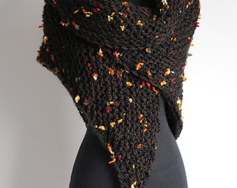 Pretty Flowers Dark Brown Black Color Chunky Knitted Shawl Stole Wrap with Tassels