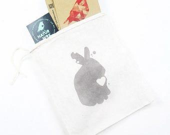 Rabbit Gift Bag, Cotton Gift Bag, Pink Rabbit, Rabbit Gift Bag, Drawstring Pouch, gift pouch, reusable pouch, Reusable Gift Bag, coin pouch