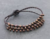 Copper Beaded Woven Bracelets Strand Braided