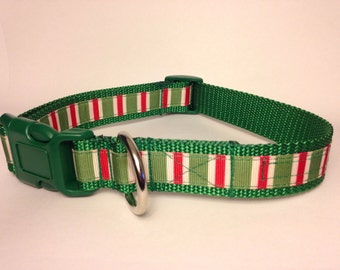 LARGE red candy stripes holiday dog collar