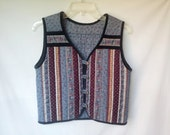 1970s Quilted Patchwork Vest, Silvertone Buttons, Extra Small XS