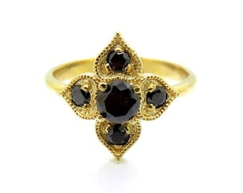 Onyx ring, unique engagement ring, heart & flower, 14K Yellow gold