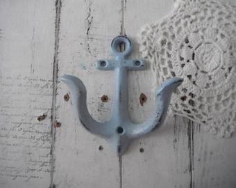 light blue anchor wall hook petite nautical hook beach house decor cottage decor rustic decor nautical bathroom hook distressed towel hook