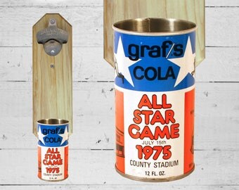 Vintage Barware 1975 Graf's All Star Game Wall Mounted Bottle Opener with Vintage Beer Can Cap Catcher - Milwaukee Brewers NL vs AL