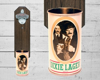 Dixie Beer Wall Bottle Opener with Vintage New Orleans Beer Can Cap Catcher Louisiana Gift for Groomsmen & Guy