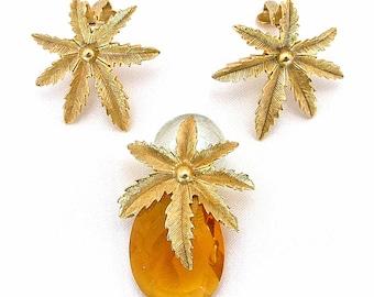 1960s Sarah Coventry Autumn Haze Pineapple Pin & Earrings Citrine W/gold Tone