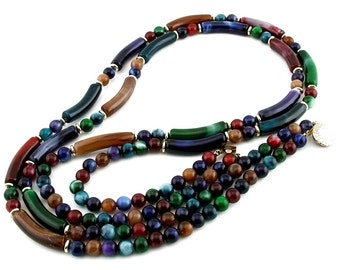 Vintage 2 Strand Lucite Bead Necklace Round & Long Curved Marbled Beads, Ca.70s