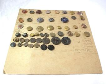 Antique Button Card with Civil War Floral Milkglass Metal Squirrel & More