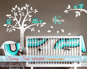 Owls Tree Wall decal, Nursery Wall Decal, Owls and Tree Wall Decal for Baby Room Decor, Owls and Tree Personalized Initial Name Wall Decal