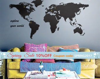 World Map Wall Decal, World Map Wall Sticker for Home Decor, World Map Wall Decor, World Map Decal for Office Design