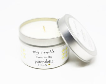 Soy Candle Sweet Vanilla -Travel Tin Candle -  / 4 oz. Scented Candle