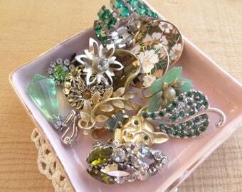 Vintage Earring Lot, Cluster, Rhinestone, Clip On Pierced Lot, Vintage Jewelry Destash, Drops Cluster Bracelet DIY Craft Repurpose Lot D60