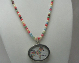 Multi Gem Stone Necklace with Reversible Pendant