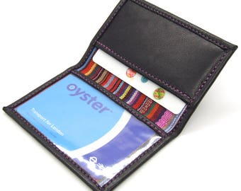 Slim wallet, black leather card holder with ID window and stripe lining