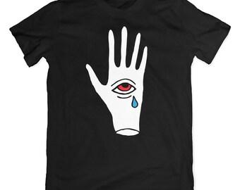 Crying third eye t-shirt. Hand with eye tear tee. Occult, illuminati clothing.