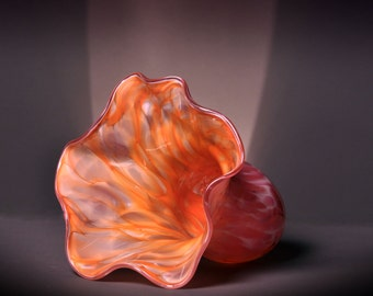 Original Hand Blown Fluted Glass Vase in Light Pink, White, and Orange