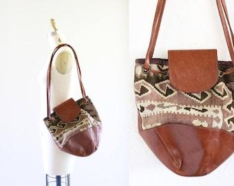 casleigh italy kilim + leather Handbag
