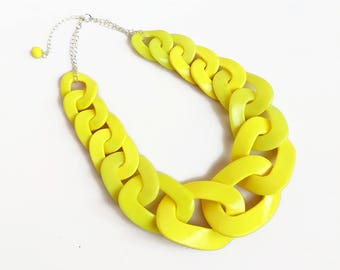Yellow Chain Link Necklace, Oversized Statement Necklace, Chunky Yellow Bib Necklace