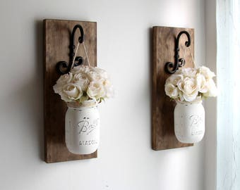 Wall Sconces  Mason Jars Sconce Rustic Wall Decor Farmhouse Sconce Wall  Hanging