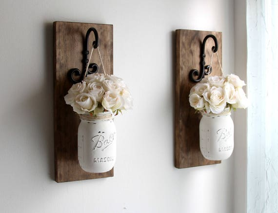 Rustic home decor mason jars sconce rustic sconces rustic for Shabby wanddeko