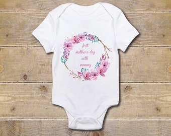 Mother's Day Baby Onesie, New Mom, Wreath, Baby Shower Gift, Boho, Baby Clothes, Shirt, New Baby Gift, Tribal, Girl, First Mother's Day