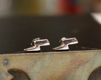 Lightning Bolt Sterling Silver Stud Earrings