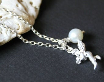 Dainty Silver Angel Pearl Charm Necklace, Sterling Silver Chain , Wedding Gift, Bridesmaid Gift, Birthday Gift, Baptism Gift