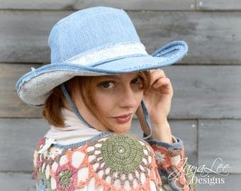 Denim and Lace Cowboy Hat, Rustic Wide Brim Hat, Upcycled Recycled Repurposed